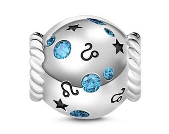 Leo Zodiac Charm Bead * Sterling Silver * 4.5mm Inner Diameter * Fits most European Charm Bracelets