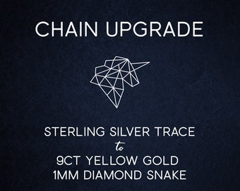 Chain Upgrade 1mm Diamond Cut Snake Chain * 16 18 20 inches * Solid 9ct Yellow Gold * Best for Men, Women