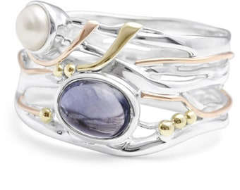 Purple Iolite and White Pearl Ring * Sterling Silver * Rustic Organic Jewelry * Unique Womens Engagement Ring * Promise Ring