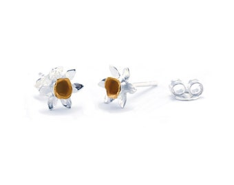 Sterling Silver and 14ct Gold Daffodil Flower Stud Earrings