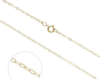 1mm Trace Chain * 16 18 20 inches * 9ct Yellow Gold * Cable Chain
