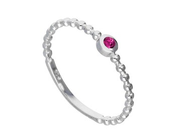 Personalized Sterling Silver and Tourmaline Cubic Zirconia Beaded Stacking Ring - October Birthstone