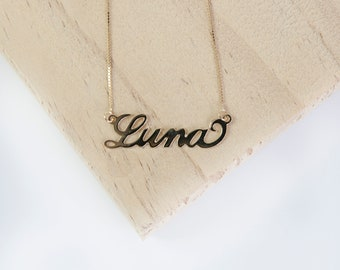 Small Personalised Name Necklace * Sterling Silver * Name Jewelry * Silver Name Pendant * Custom Name Necklace * Hand Cut * Engraved Jewelry