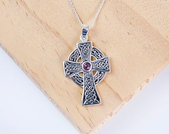 Sterling Silver Celtic Cross Necklace for Men or Women * Personalized With 40 Characters * Heritage Amethyst Gemstone Pendant Design