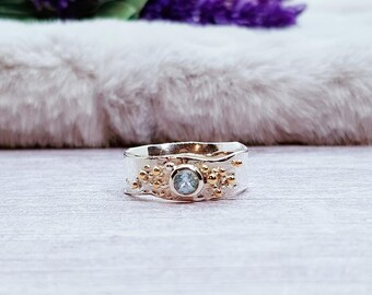 Blue Topaz Bobble Ring * Sterling Silver * Rustic Organic Jewelry * Unique Womens Engagement Ring * Promise Ring