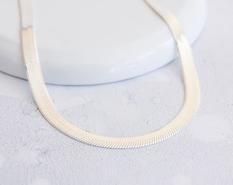 6mm Flat Herringbone Chain for Women * 16 18 inches * Sterling Silver