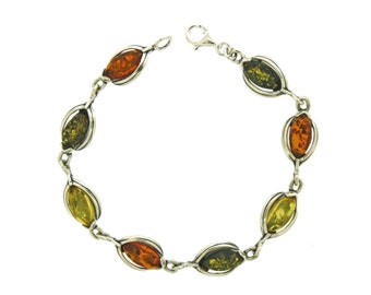 Personalised Baltic Amber Bracelet * Sterling Silver * Natural Amber for Adults * Green Amber * Mixed Amber * Gift for Her