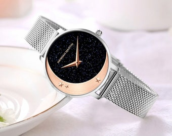 Personalised Silver and Rose Gold Moon Watch with Black Sparkle Star Dial