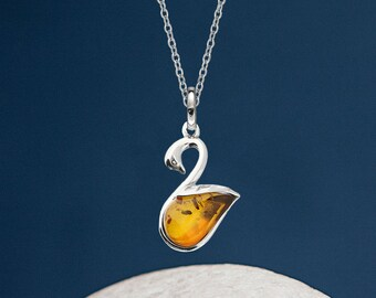 Personalised Sterling Silver and Honey Amber Gemstone Swan Pendant Necklace