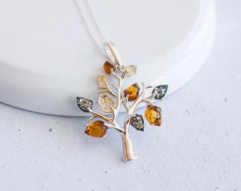 Sterling Silver and Amber Tree of Life Necklace for Women or Girls * Personalized with 40 Characters * Baltic Amber Tree Nature Pendant