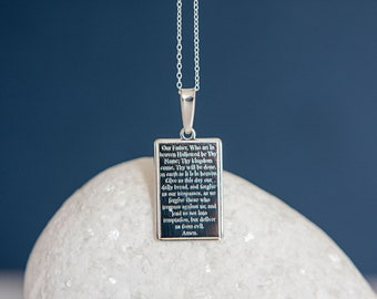 Sterling Silver Lords Prayer Pendant Necklace