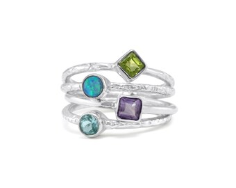Sterling Silver Joined Organic Stacking Ring With Four Semi Precious Stones