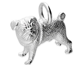 Personalised Pug Dog Necklace * Sterling Silver * Pug Dog Pendant * Pug Dog Jewelry