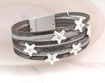 Personalised Grey Leather Bracelet With Silver Plated Crystal Stars