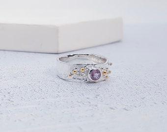 Personalized Sterling Silver Purple Amethyst Gemstone Ring for Women - February Birthstone