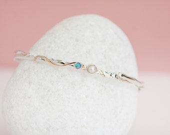 Freshwater Pearl and Blue Opal Sterling Silver Bangle Bracelet