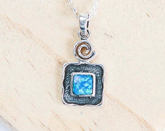 Sterling Silver Blue Opal Necklace for Men or Women * Personalized With Up To 40 Characters * Organic Gemstone Pendant Design *