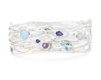 Personalised Opalite, Amethyst, Topaz, Iolite Bangle Bracelet * Sterling Silver * Rustic Organic Jewelry * Unique Womens Wedding Jewelry *