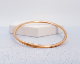 Rose Gold Twisted Bangle * Worn Brushed Gold Stacking Bracelet Design