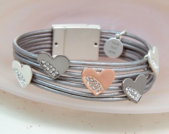 Personalised Grey Leather Bracelet With Mixed Crystal Hearts