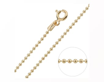 1.5mm Ball Bead Chain * 14 16 18 20 22 24 inches * 9ct Gold Dipped Sterling Silver * Best for Men, Women, Girls, Boys