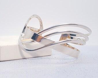 Sterling Silver Cuff Bracelet for Men or Women * Wide Heritage Celtic Torc Design