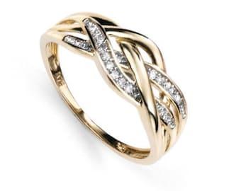 Celtic 0.1ct Diamond Ring * 9ct Yellow Gold * Celtic Birthstone Ring * Celtic Knot * Irish Ring * Celtic Knot Jewelry * Birthstone Ring *
