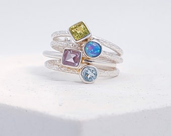 Personalized Sterling Silver Joined Stacking Ring Set for Women * Opal, Amethyst, Peridot, Opal Gemstone Ring Set