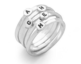 Personalized Sterling Silver Initial Stacking Ring