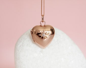 18ct Rose Gold Dipped Heart Locket Pendant Necklace with Cubic Zirconia Star