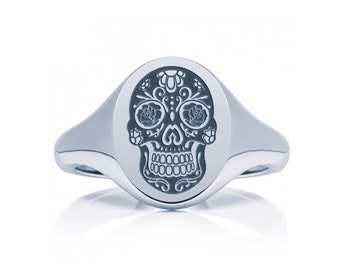 Sterling Silver Sugar Skull Ring Jewelry for Men or Women * Personalized With Up To 40 Characters * Memento Mori Design