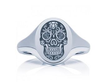 Sterling Silver Sugar Skull Ring Jewelry for Men or Women * Memento Mori Design