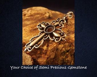 Sterling Silver Spanish Cross Pendant Necklace * Choice of 6mm Semi Precious Gemstone *