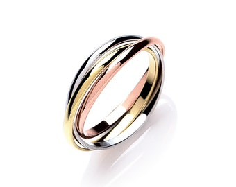 Personalised 9ct Mixed Gold Interlocking Russian Wedding Ring