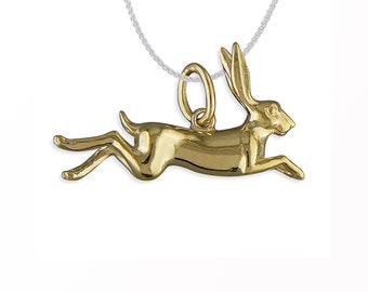Personalized 18ct Yellow Gold Dipped 3D Leaping Woodland Hare Pendant Necklace