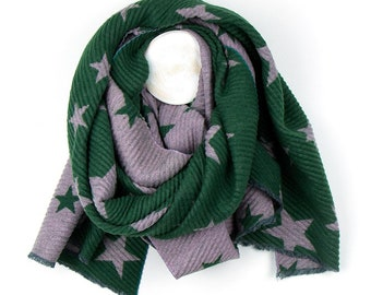 1d5b1b759cbec Personalised Reversible Rich Green Pleated Scarf with Pink Star Print -  70cm x 180cm
