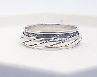 Sterling Silver Spinner Ring for Men * Personalized With Up To 10 Characters * Custom Thumb Ring * Oxidised Finish * Twisted Design*