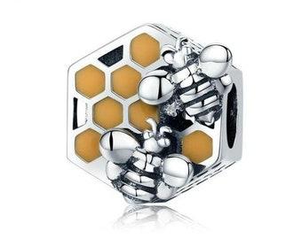 Honey Bee Charm Bead * Sterling Silver * 4.5mm Inner Diameter * Fits most European Charm Bracelets