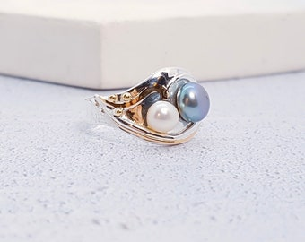 UK P Sterling Silver Black and White Freshwater Pearl Ring for Women * Personalized With Up To 40 Characters * Organic Gemstone Ring *