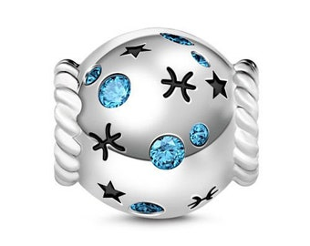 Pisces Zodiac Charm Bead * Sterling Silver * 4.5mm Inner Diameter * Fits most European Charm Bracelets
