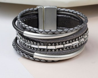 Personalised Grey Leather, Silver Tubes And Crystals Bracelet