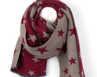 Personalised Reversible Red Pleated Scarf with Taupe Star Print - 70cm x 180cm