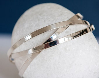 Sterling Silver Flat Interlinked Triple Russian Ring Bangle
