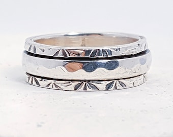 UK M Personalised Slim Hammered Spinner Ring * Sterling Silver * Boho * Anxiety, Meditation, Worry, Spinning Jewelry * Spin, Fidget