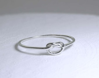Personalized Sterling Silver Dainty Heart Knot Stacking Ring