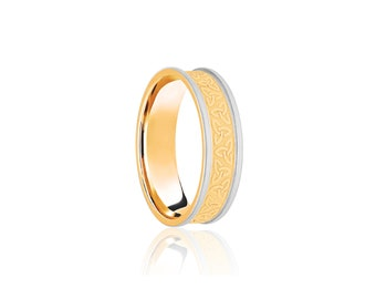 9ct Yellow and White Gold Ring for Women or Men * Celtic Gold Wedding Band * 5m 6mm 7mm 8mm