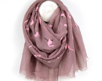 Personalised Dusky Pink Scarf with Pink Flamingo Print - 70cm x 180cm
