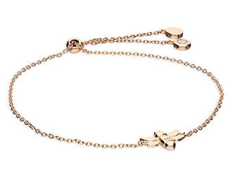 Personalized 18ct Rose Gold Bumble Bee Bracelet for Women * Honey Bee Insect Adjustable Bracelet Design