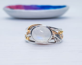 US 8.5 | UK Q | EU58 Personalized Sterling Silver Rainbow Moonstone Gemstone Leaf Ring for Women