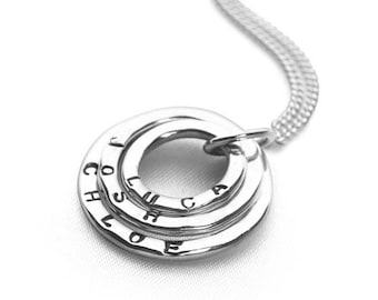Sterling Silver Mothers Necklace for Women *  Three Circles of Love Washer Pendant Jewelry Design